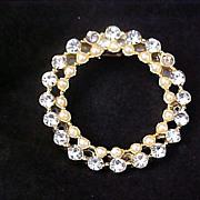 SALE REDUCED  Diamante & Simulated Seed Pearl 1950- Circular Brooch