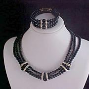 SALE MID CENTURY ~ Black Glass & Pave  Diamante Three Strand Choker & Bracelet