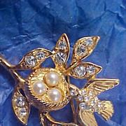 SALE Diamante & Simulated Pearl Bird & Nest Brooch