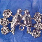 SALE Repousse Silver plate Love Birds & Florals Brooch