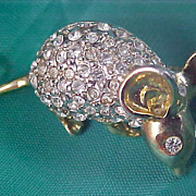 SALE Pave Diamante Paste FAT MOUSE ~ Crafted in Silver & Gold Plate Brooch