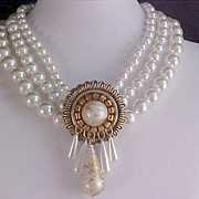 SALE (3) THREE Strand Simulated  Glass Pearls Intricate Design Necklace/Choker