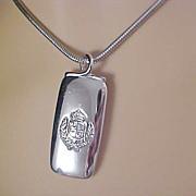 SALE Rectangle PENDANT~Crown  & Laurel Leaf-Silver Plate -SNAKE Chain