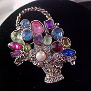 SALE Bountiful BASKET of Simulated JEWELS (glass stones) & Faux Pearl Brooch