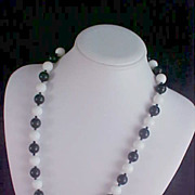 SALE Black & White LUCITE BEAD Black Spacers Necklace