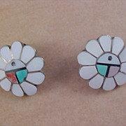 SALE ZUNI Turquoise~White ~Coral & Black INLAY Clip Earrings