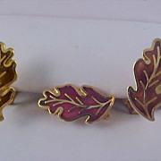 SALE Russet Red Enameled  PLUMES Demi parure - Brooch & Clip Earrings