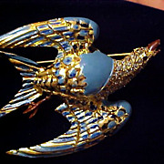 SALE DRAMATIC SWALLOW~Turquoise Enamel & Diamante Figural  Gold Plate Brooch