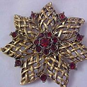 SALE Mid Century Dark Red Ruby Rhinestone Antiqued Gold Plate Brooch