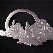 SALE 1988 Precious  Pewter Southwester Style Designed by J.J. Brooch