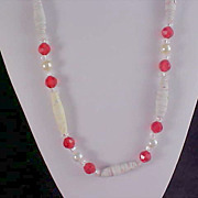 SALE Simulated Pearl~Crystals~RED & Oblong UNIQUE Bead Necklace