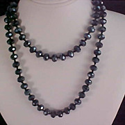 SALE Incredible Hand Knotted  BLACK Genuine  CRYSTAL Sautoir Necklace ~ 100.8 grams