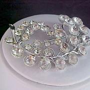 SALE ART DECO Diamante Silver Plate Brooch ~ 24.1 grams