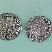 SALE Ornate Antique  Silver Plate Scrolling Clip Earrings