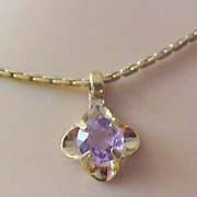 SALE Mid Century AMETHYST  Rhinestone Pendant and Gold Plate Chain by AVON
