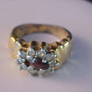 SALE Dark Red Rhinestone~Diamante COCKTAIL~Silver & Gold Tone Ring~Size 6 3/4.