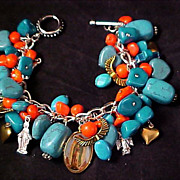 SALE 50% DISCOUNTED ~GUADALUPE Turquoise Howlite & Coral Hearts & Angels CHUNKY Religi
