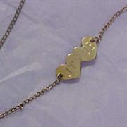 SALE 12K  Gold Plate 1950's RETRO Double Hearts Ankle Bracelet