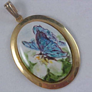 SALE BUTTERFLY & FLOWER Hand Painted Oval Gold Plated Pendant