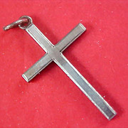 SALE $2 Ship ~ Religious CROSS Charm/Pendant in Silver Tone