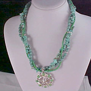 SALE Turquoise~Native American Style ~ 3 Strand Torsade & Silver Plate Necklace
