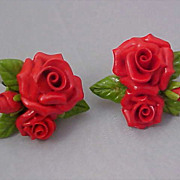 SALE Exquisite 1950's Hard Plastic Red Roses Clip Earrings