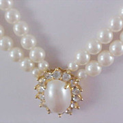 SALE Two Strand Simulated Pearls & Diamante Choker/Necklace