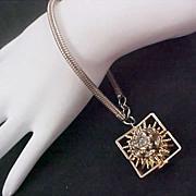 SALE HOBE ~Two Sided Diamante Swivel Flowers Silver Plate Bracelet w/Snake Chain