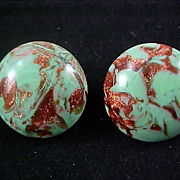 SALE Free Shipping ~ SEAFOAM~ Gold FLUSS ~  ITALY~ Button Clip Earrings Signed
