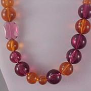 SALE Fabulous Heavy Lucite Varied Bead~Graduated Necklace