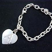 "SALE Charming HEART ~ Diamante` ~ Initial ""A""Charm Silver Plate Bracelet"