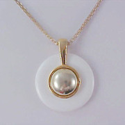 SALE Lavish Milk White Disc & Gold Plate Center Pendant & Snake Type Chain