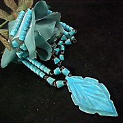 SALE Scintillating  Native American Style Turquoise AGATE  Hand Crafted Drop & Bead Necklace