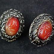 SALE CARNELIAN Genuine SCARAB Antiqued Gold Plate Clip Earrings