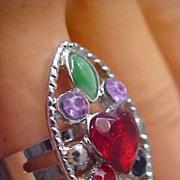 SALE ART DECO Multi-Rhinestone Silver Plate Ring