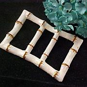 SALE BELT BUCKLE Sash Pin~ White Enamel & Gilt Gold Brooch or Pin