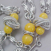 SALE Yellow Beads &Silver Tone Rope Paper Clip  Silver Tone Double Strand Necklace