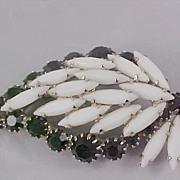SALE SPECTACULAR ~ DeLizza & Elster Juliana Milk White NAVETTES  Black Crystal Brooch