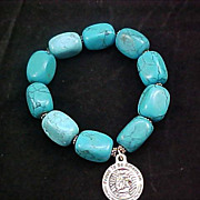 SALE Free Ship  ~ Exquisite Color Enhanced TURQUOISE  HOWLITE Silver Plate Capped Expandable B