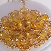 SALE CITRINE Swarovski Crystals & Filigree Workmanship Medallion & Chain Necklace