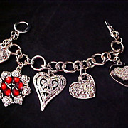SALE Silver Rhodium Plate Hearts Charm Bracelet ~ 85.8 gr.
