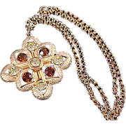 SALE Sarah Coventry's STARBURST ~ Amber & Topaz Paste Rhinestone Necklace