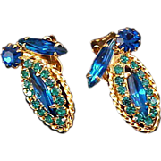SALE Sapphire Blue &Teal Sparkling Rhinestone Clip Earrings
