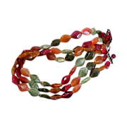 SALE Free Ship -LUCITE Simulated AGATES Three Strand Dramatic Necklace