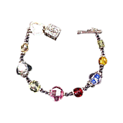 SALE Varied CRYSTAL BEADS ~ Silver plate Trinket Box Charm Bracelet