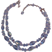 SALE BLUE Genuine Crystal Two Strand necklace/Choker