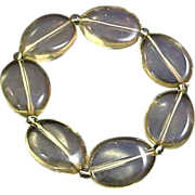 SALE TRANSLUCENT Light Green Lucite  Flat Oval Beads Bracelet