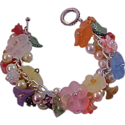 SOLD GARDEN PARTY ~ Celluloid Trumpet  Flowers& Fruit Czech & Crystals~Faux Pearls Chu