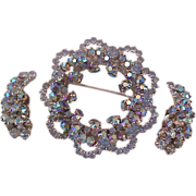 SALE Runway  ~ BLING~ Blue Aurora Borealis Demi Parure~Brooch~Clip Earrings