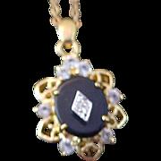 SALE Black Onyx & Cubic Zirconia Pendant & Chain